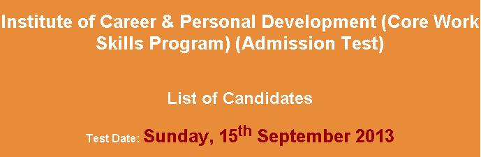 NTS Core Work Skills Program Admission Test  list of Candidates.