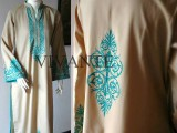 green linen with turquoise screen print collection