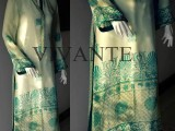 pure chiffon with green screen print embroidery winter dresses