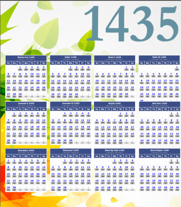Islamic Year 1435 Hijri Calendar