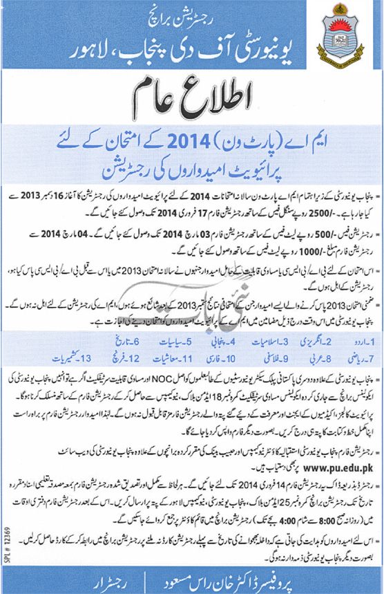 Registration of Private Candidates for M.A. Part-I Annual Examination 2014