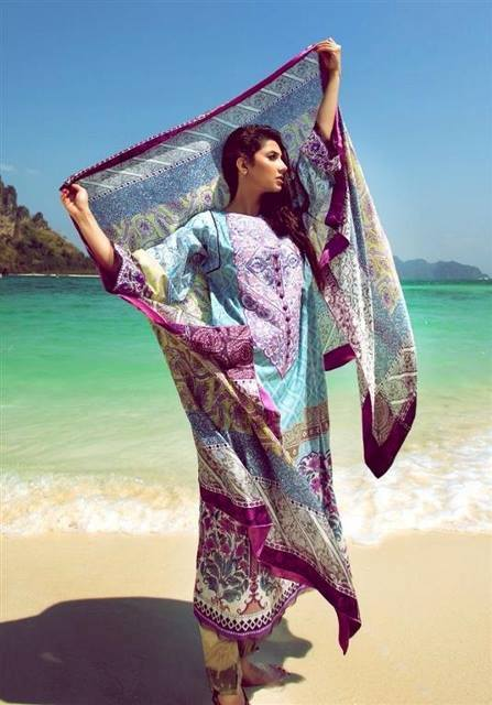 latest lawn dresses with chiffon dupatta