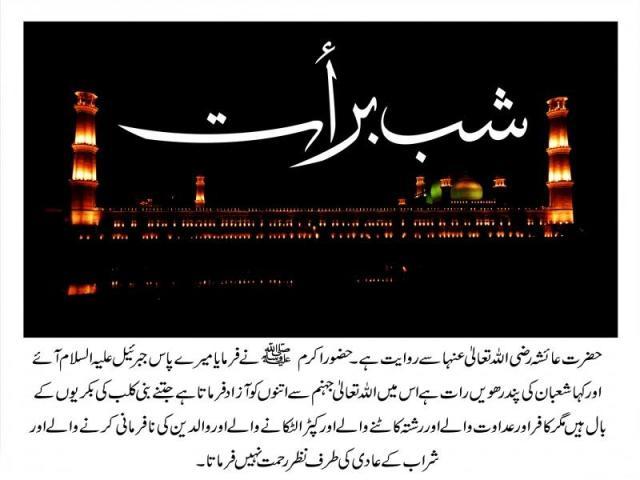 hadith by hazrat Ayesha  for Shab e Barat