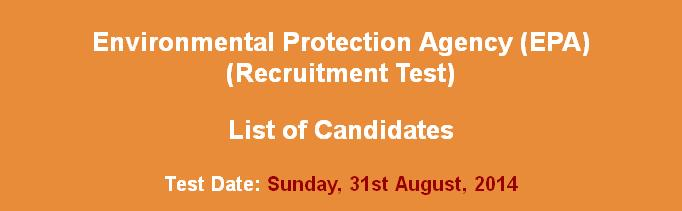 EPA (Environmental Protection Agency) candidates nts written test date & list