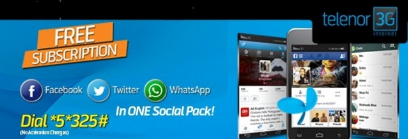 Telenor Free Social Pack Bundle offer for Social Media
