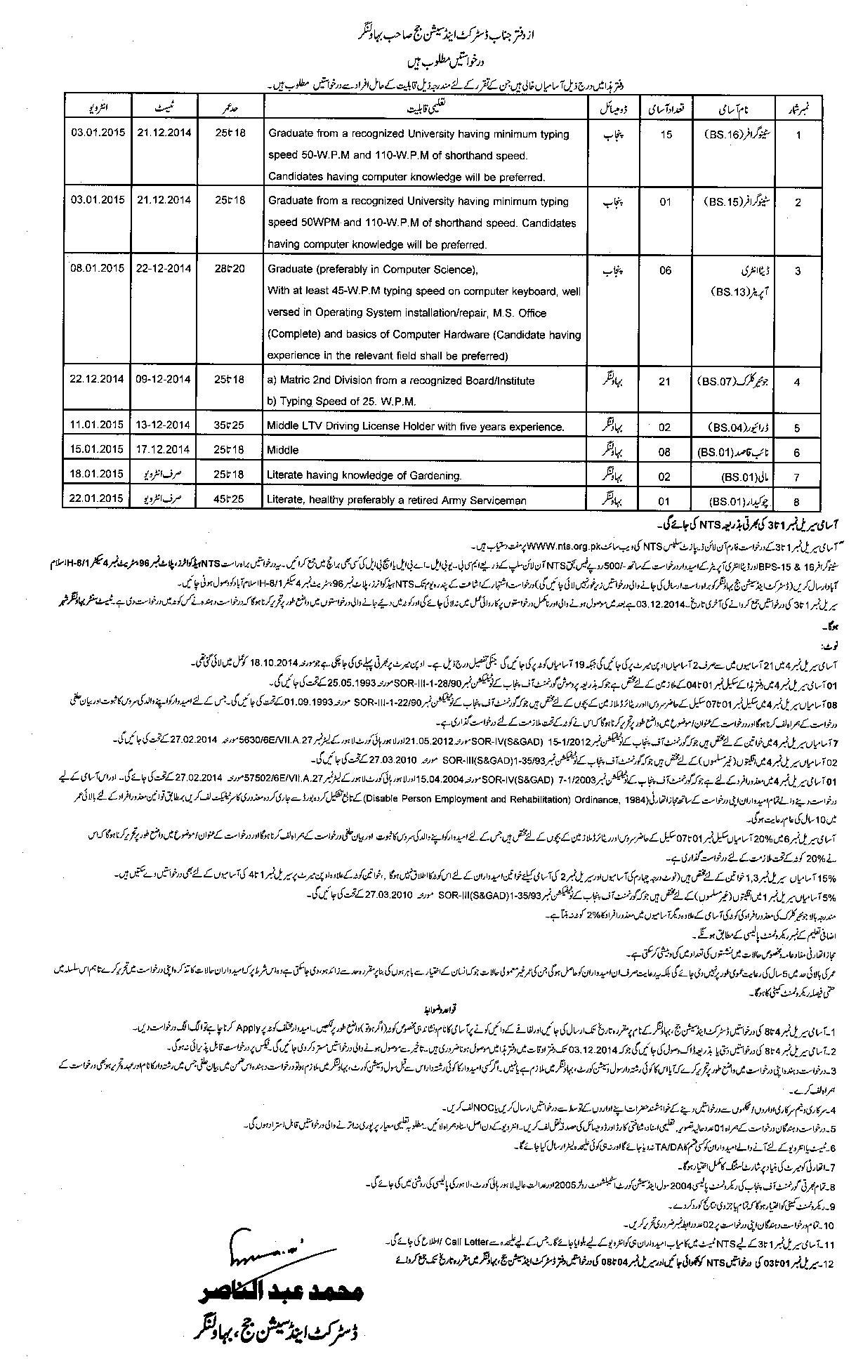 Session Court Bahawalnagar jobs 2014