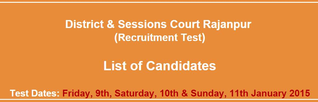 Rajanpur district court nts list of candidates