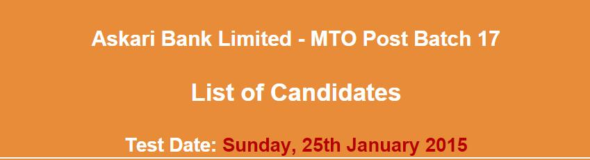MTO Post Askari Bank jobs 2015