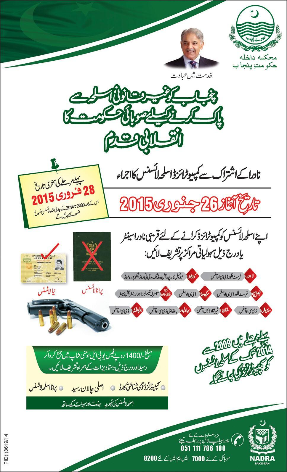 computerized weapon license by nadra smart card