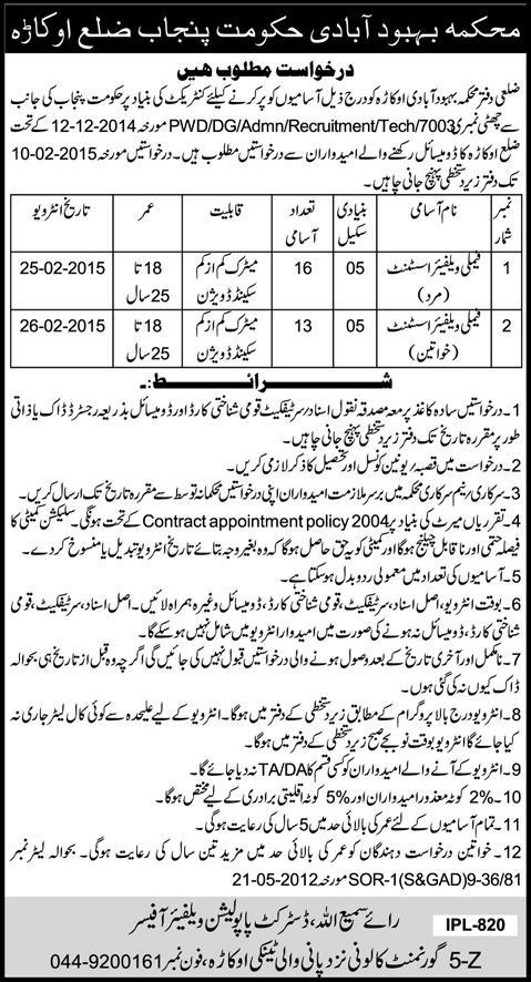 family welfare assistant male &  female jobs 2015
