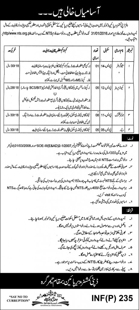 deputy commissioner Dir office jobs