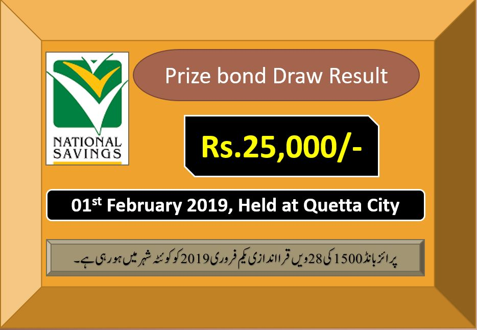 Rs.25000 Prize Bond Quetta Draw #28 List Result 01 February 2019