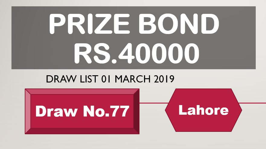 Rs.40000 Prize Bond Lahore Draw #77 List Result 01 March 2019