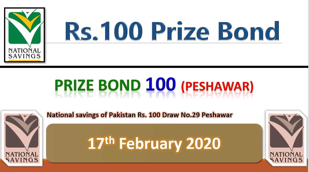 Rs.100 Prize Bond result 17 February 2020 Peshawar