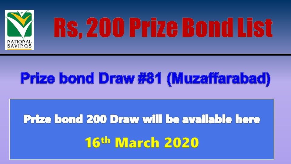 Check Rs.200 Prize Bond Result 16 March 2020
