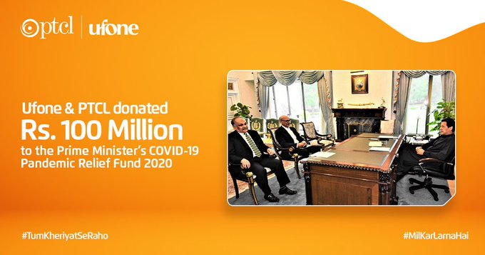 Ufone and PTCL donated Rs.100 million to Prime Minister Relief Fund