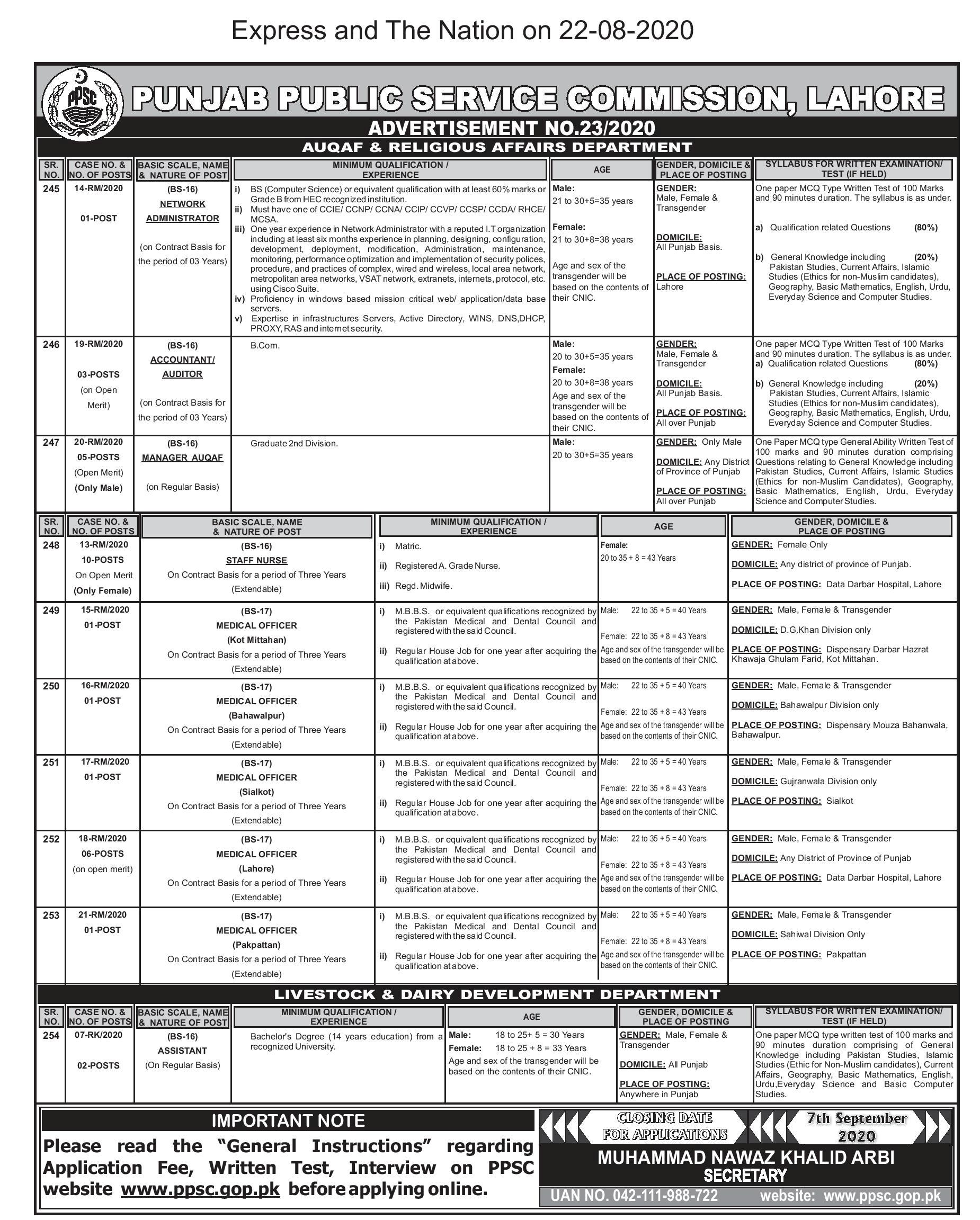PPSC Auqaf Dairy Development Jobs 2020