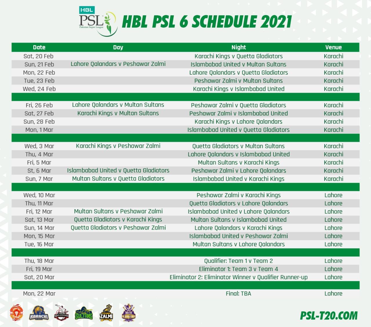 HBL PSL 6 Schedule 2021 Announced