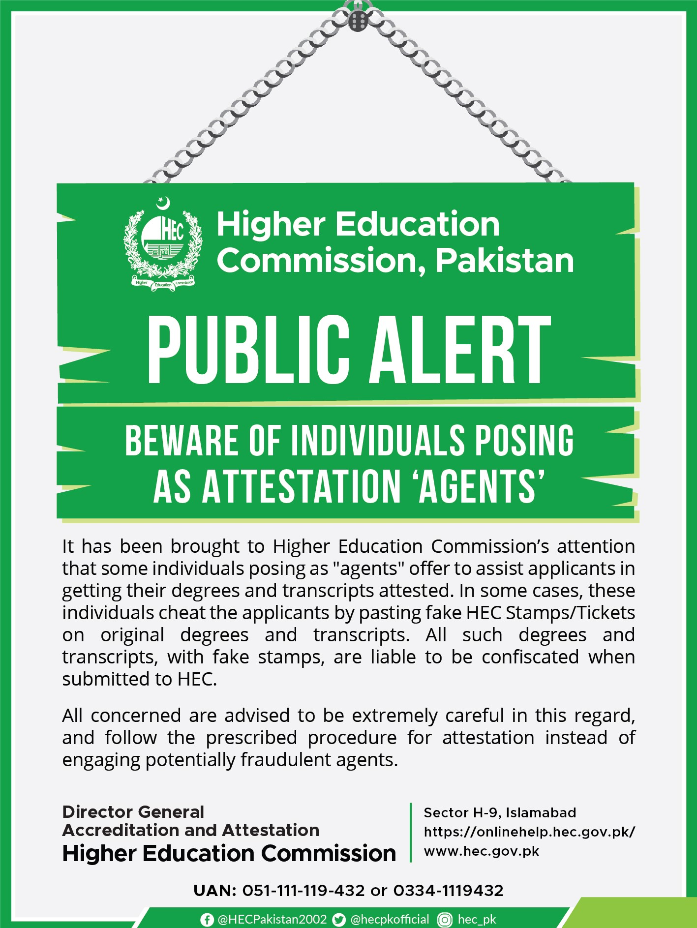 HEC Public Alert as Beware from Attestation Agents.