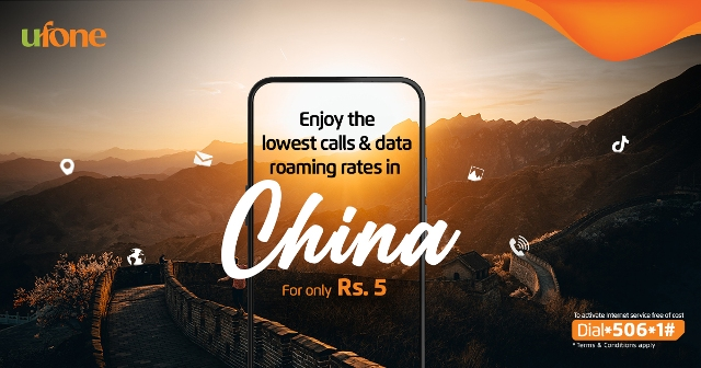 Ufone offers the Lowest Data Roaming rates in China
