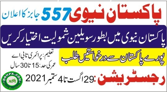 Join Pakistan Navy as civilians for Badge 2022